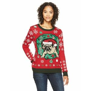 Ugly Christmas Sweater Pug In Wreath
